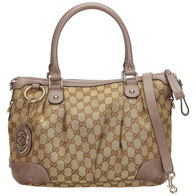 781f36a60 Gucci Brown Guccissima Canvas Sukey Satchel at 1stdibs