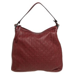 Gucci Brown Guccissima Leather Bamboo D Ring Hobo
