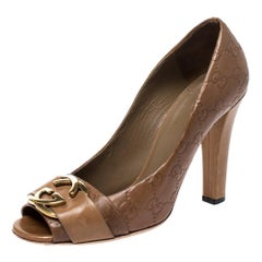 Gucci Brown Guccissima Leather GG Logo Peep Toe Pumps Size 39
