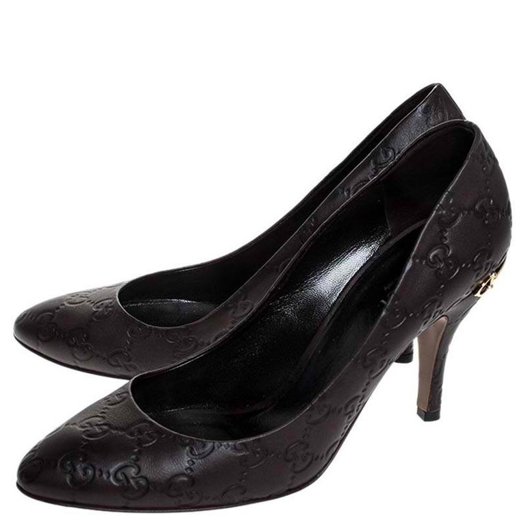 Gucci Brown Guccissima Leather Horse-Bit Heel Round Toe Pumps Size 39 For Sale 1