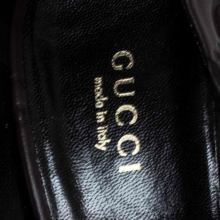 Gucci Brown Guccissima Leather Horse-Bit Heel Round Toe Pumps Size 39 For Sale 2