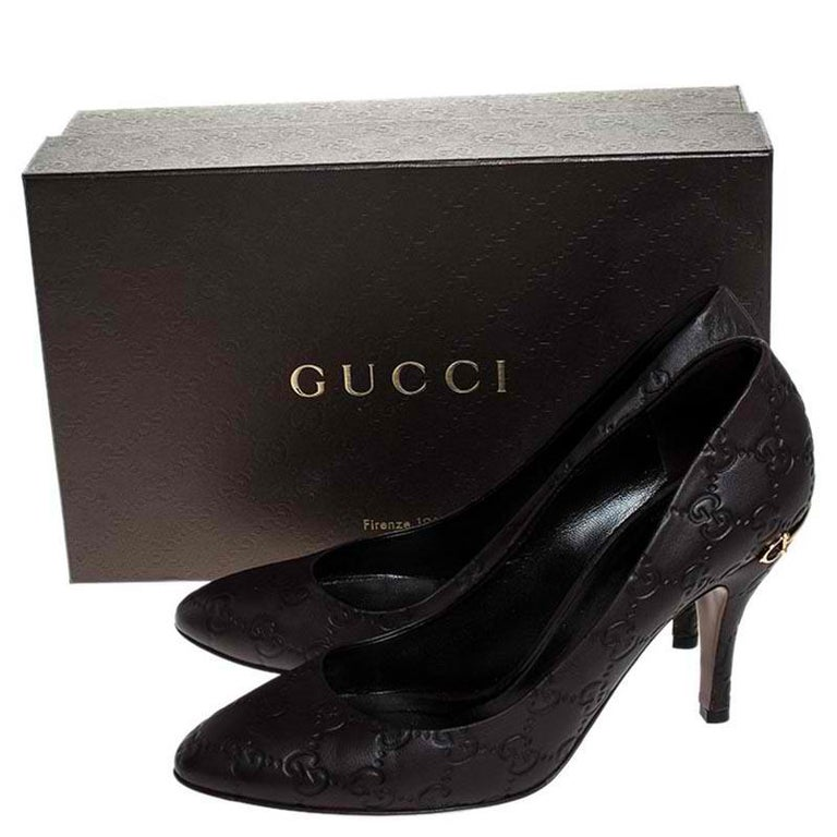 Gucci Brown Guccissima Leather Horse-Bit Heel Round Toe Pumps Size 39 For Sale 4