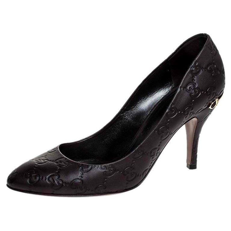 Gucci Brown Guccissima Leather Horse-Bit Heel Round Toe Pumps Size 39 For Sale