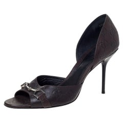 Gucci Brown Guccissima Leather Horsebit D'orsay Peep Toe Pumps Size 40