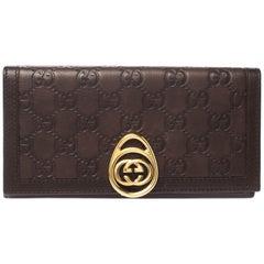 Gucci Brown Guccissima Leather Interlocking GG Clip Continental Wallet