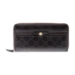 Gucci Brown Guccissima Leather Mayfair Bow Continental Wallet