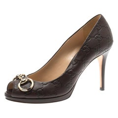 Gucci Brown Guccissima Leather New Hollywood Horsebit Peep Toe Pumps Size 37