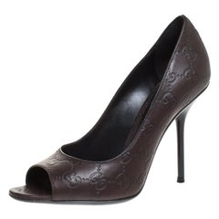 Gucci Brown Guccissima Leather Peep Toe Pumps Size 38