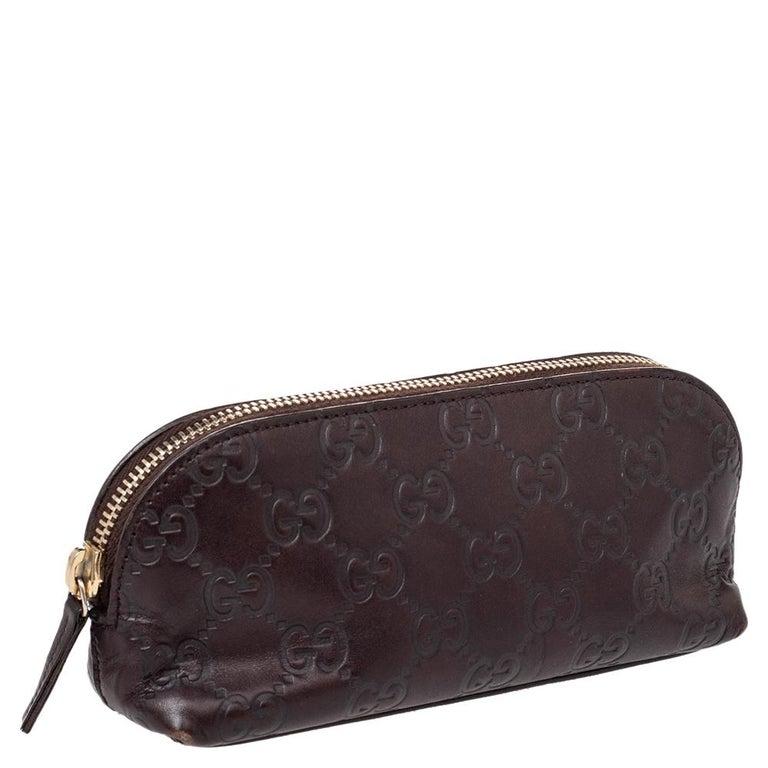 Gucci Brown Guccissima Leather Pouch In Good Condition For Sale In Dubai, Al Qouz 2