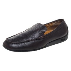 Gucci Brown Guccissima Leather Slip On Loafers Size 39.5