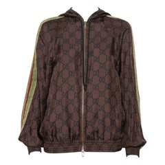 Gucci Brown Guccissima Printed Silk Stripe Detail Hooded Jacket XS