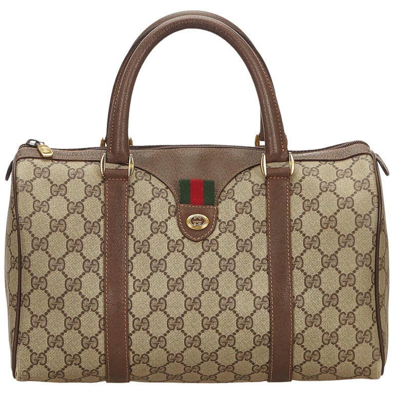 f71ac8653 Gucci Brown Guccissima Web Canvas Boston Bag at 1stdibs