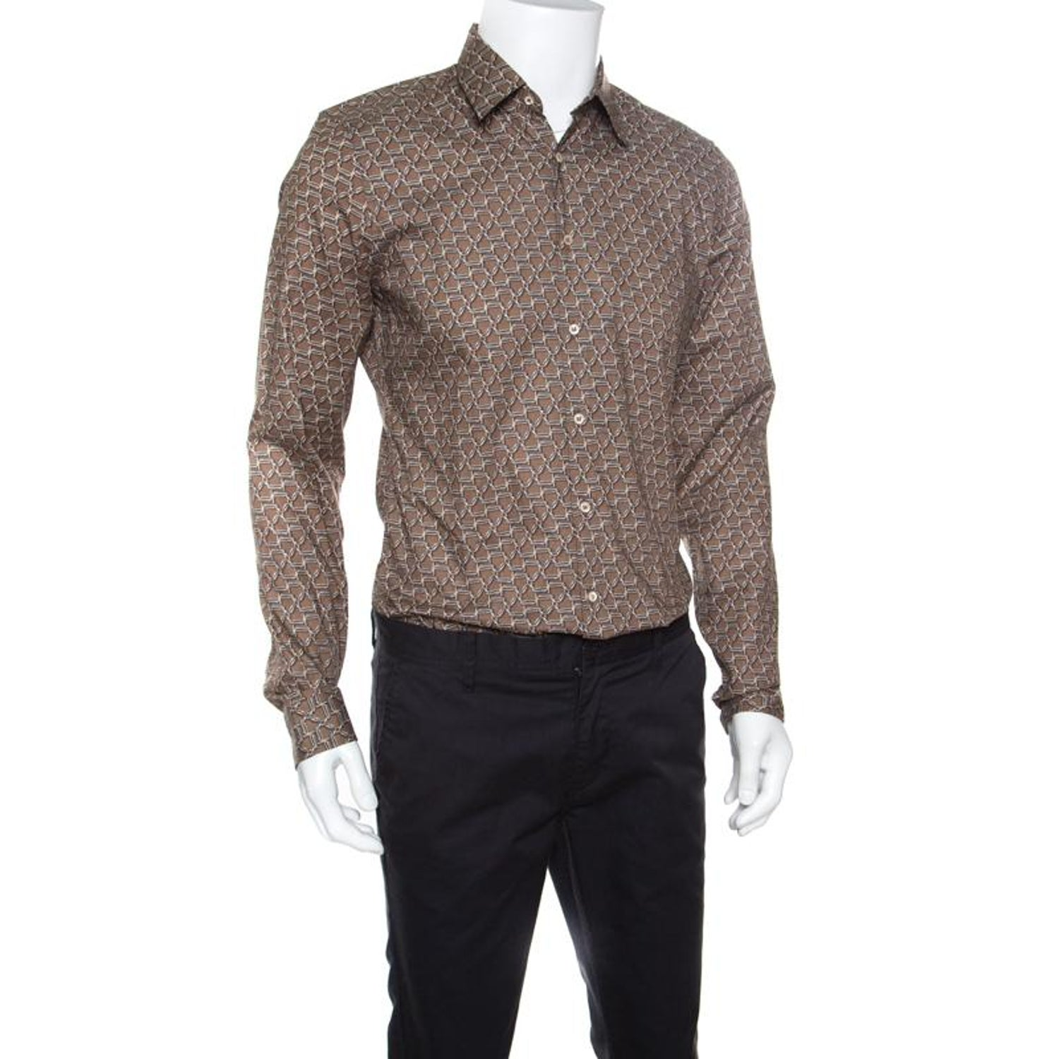 d0d3193e4 Gucci Brown Horsebit Printed Cotton Long Sleeve Slim Fit Shirt M For Sale at  1stdibs