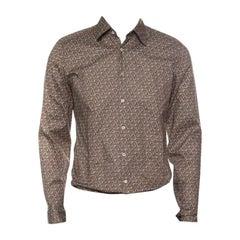 Gucci Brown Horsebit Printed Cotton Long Sleeve Slim Fit Shirt M