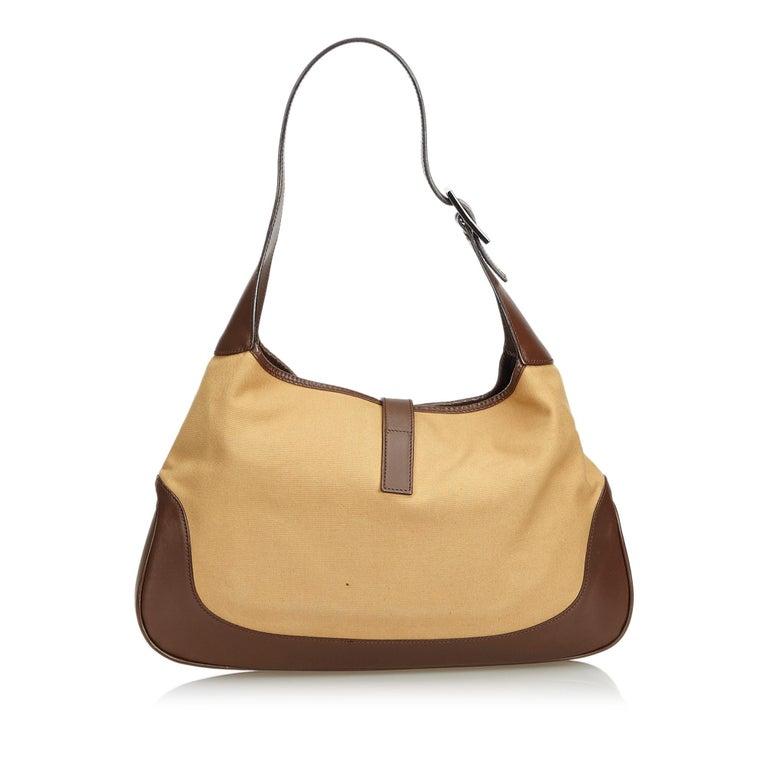 8f8e119af7e Gucci Brown Jackie Canvas Shoulder Bag For Sale at 1stdibs