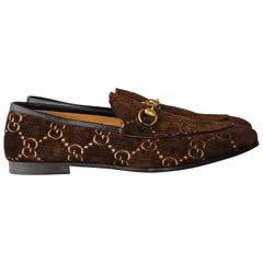 Gucci Brown Jordaan GG Velvet Loafers (10.5)