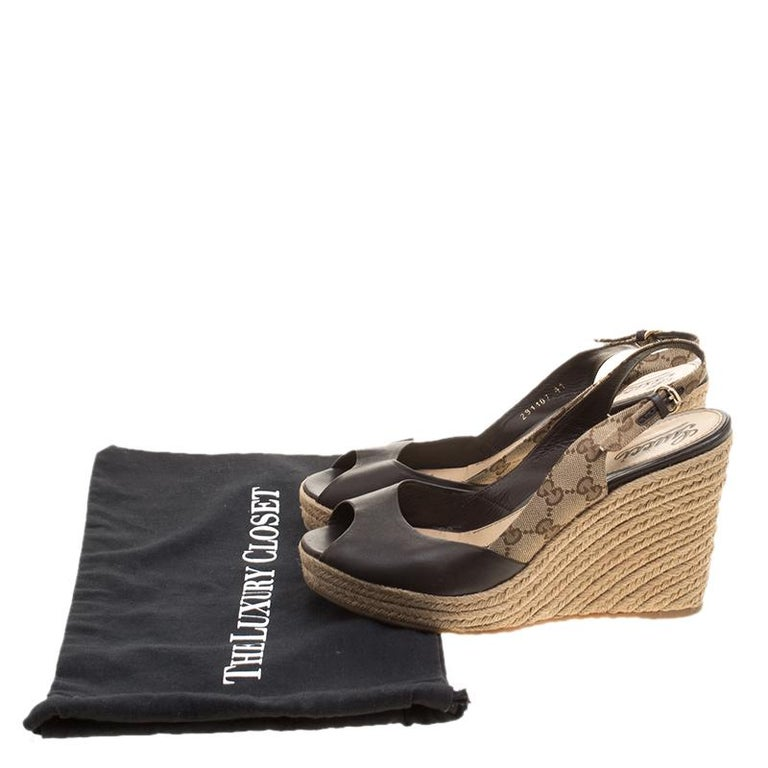4578e41ba36e Gucci Brown Leather and GG Canvas Slingback Espadrille Wedge Sandals Size  41 For Sale 1
