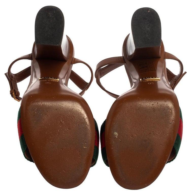 Gucci Brown Leather And Horsebit Web Stripe Detail Ankle Strap Sandals Size 35 In Good Condition For Sale In Dubai, Al Qouz 2