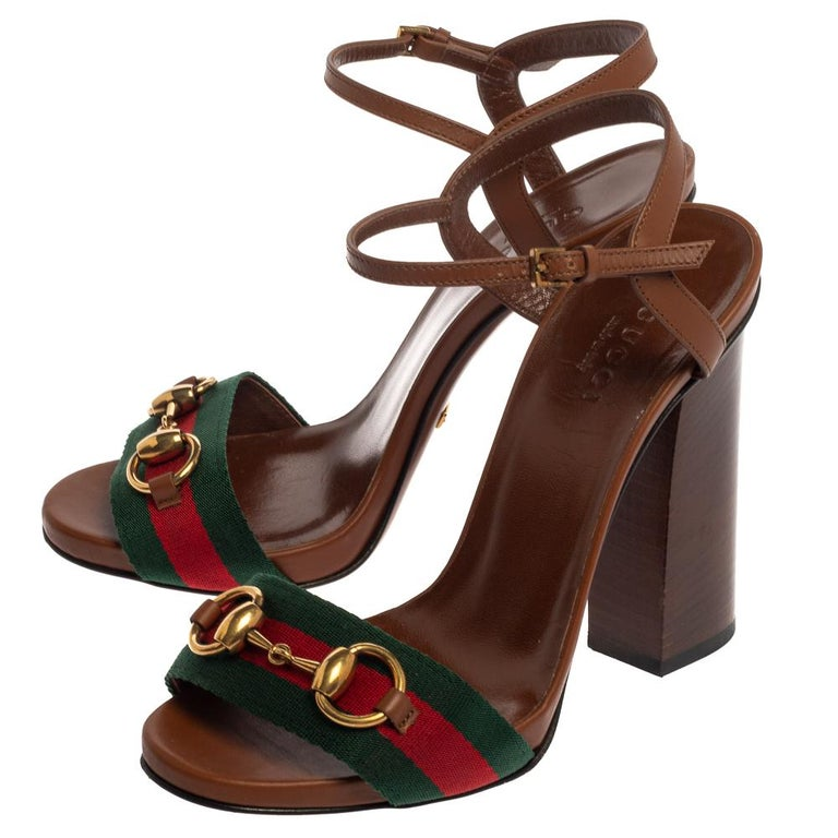 Gucci Brown Leather And Horsebit Web Stripe Detail Ankle Strap Sandals Size 35 For Sale 1