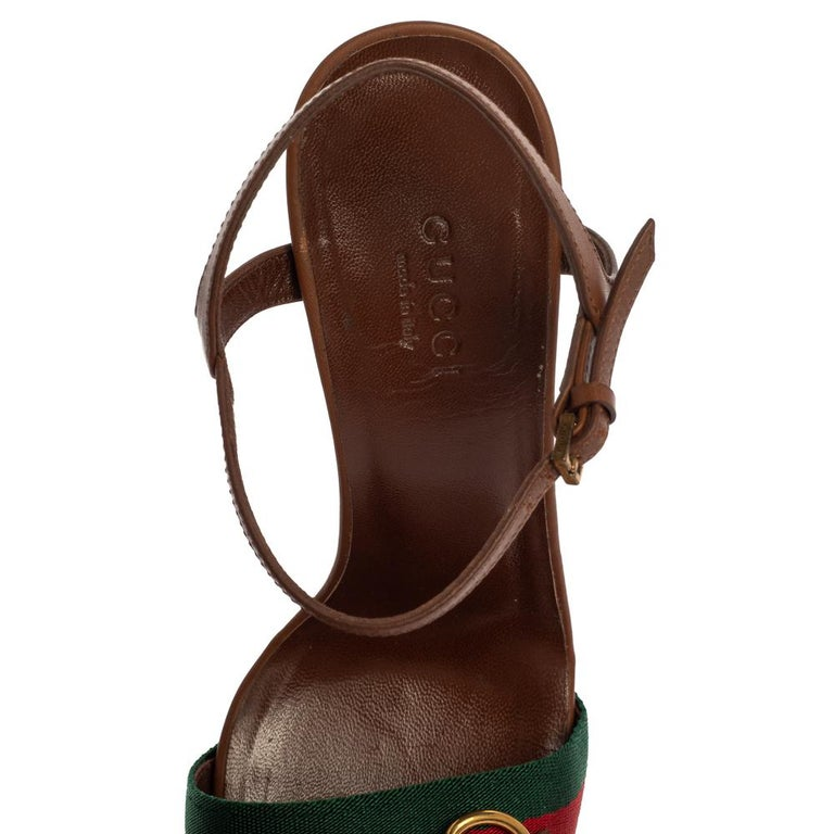 Gucci Brown Leather And Horsebit Web Stripe Detail Ankle Strap Sandals Size 35 For Sale 2