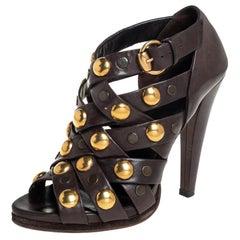 Gucci Brown Leather Babouska Crisscross Peep Toe Booties Size 39