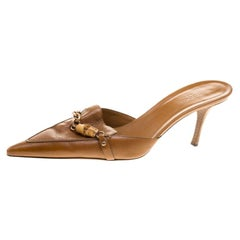 Gucci Brown Leather Bamboo Detail Pointed Toe Slides Size 38.5
