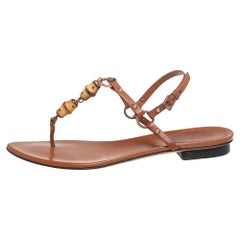 Gucci Brown Leather Bamboo Embellished Flat Thong Sandals Size 39