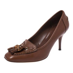 Gucci Brown Leather Bamboo Tassel Loafer Pumps Size 36.5
