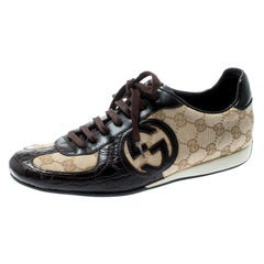 Gucci Brown Leather Beige Guccissima Royal Sport Interlocking GG Size 37.5