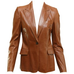 Gucci Brown Leather Blazer