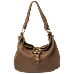 Gucci Brown Leather Braided Handle Large Hobo