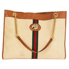 GUCCI brown leather canvas RAJA LARGE TOTE Shoulder Bag