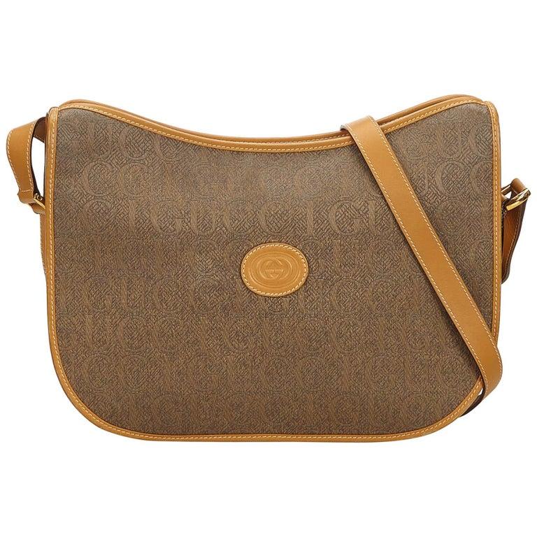 9510b9a8264 Gucci Brown Leather Crossbody Bag