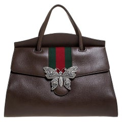 Gucci Brown Leather Crystal Butterfly Linea Totem Large Top Handle Bag