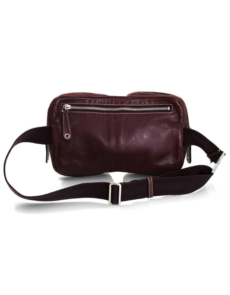 Black Gucci Brown Leather Double Waist Pouch Belt Bag Pack For