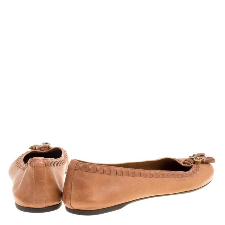 5aebc83deaa7 Gucci Brown Leather Fringe Detail Round Toe Ballet Flats Size 37.5 In Good  Condition For Sale