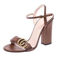 Gucci Brown Leather GG Block Heel Ankle Strap Sandals Size 37