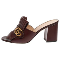 Gucci Brown Leather GG Marmont Fringe Mules Size 41
