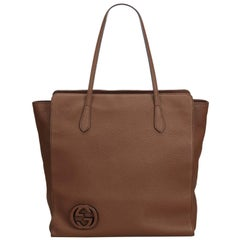 Gucci Brown  Leather GG Tote Bag Italy
