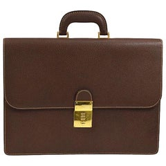 Gucci Brown Leather Gold Top Handle Men's Women's Travel Briefcase Bag