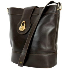 Gucci Brown Leather Golden Insert Bucket Bag 1980s