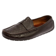 Gucci Brown Leather Guccissima Loafers Size 43