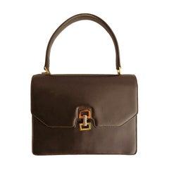 Gucci Brown Leather Handbag Top Handles Bag Vintage, Late 20th Century