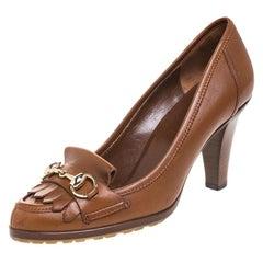 Gucci Brown Leather Horsebit Fringe Loafer Pumps Size 36.5