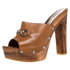 Gucci Brown Leather Horsebit Peep Toe Clogs Size 41