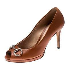 Gucci Brown Leather Horsebit Peep Toe Pumps Size 37