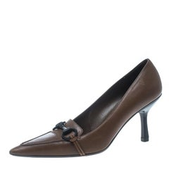 f044e006cf6 Gucci Brown Leather Horsebit Pointed Toe Pumps Size 38.  HomeFashionClothingShoes. Men s GUCCI Size 11.5 Black Guccissima Monogram  Canvas Slide Sandals For ...
