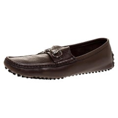Gucci Brown Leather Horsebit Slip On Loafers Size 43