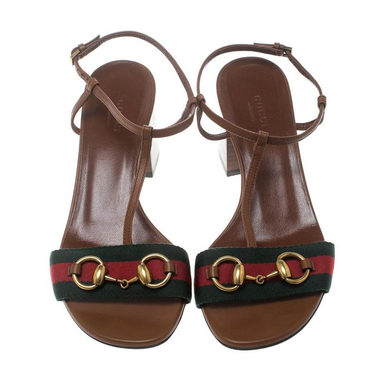 76d945b89035 ... Horsebit Web Stripe Detail T Strap Sandals Size 37 For Sale. Styled  with perfection