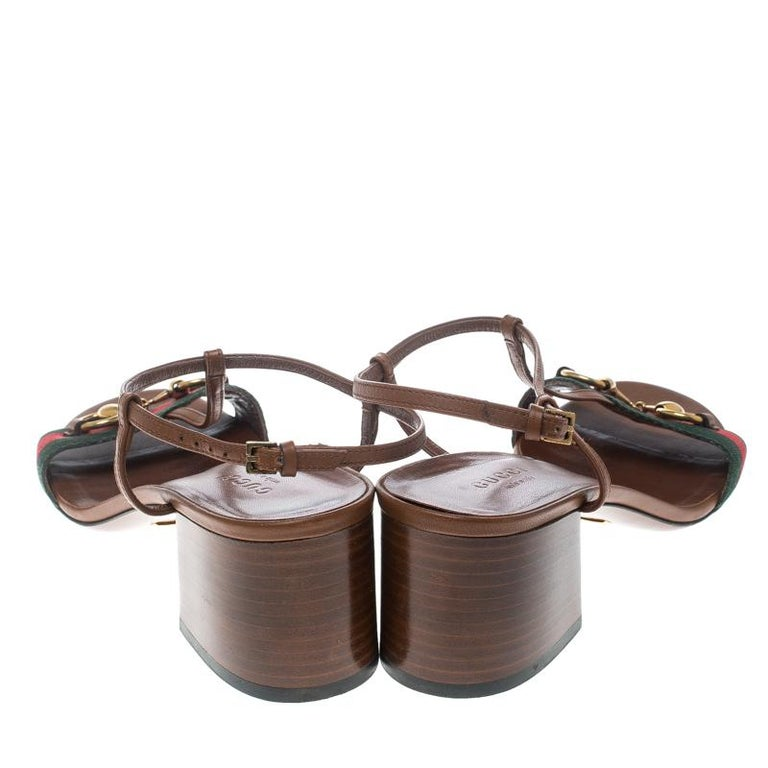 c7247bc04fe6 Gucci Brown Leather Horsebit Web Stripe Detail T Strap Sandals Size 37 In  Good Condition For